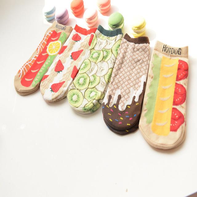 Primavera e summer mulheres japonesa linda série hot dog morango de chocolate criativo meias bonito meias casuais all-purpose estilo