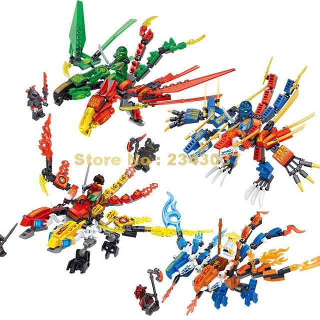 31049 758pcs Four Dragons Ninja Knight Lloyd Zane Kai Cole Phoenix Kylin  Compatible Building Block