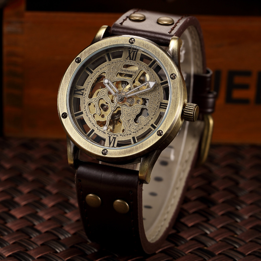 Vintage Bronze Automatic Watches Men Skeleton Brown Leather Strap Mechanical Male Clock Relogio Masculino Mens Wrist Watches vintage bronze men wristwatch skeleton clock male leather strap antique steampunk casual automatic skeleton mechanical watches
