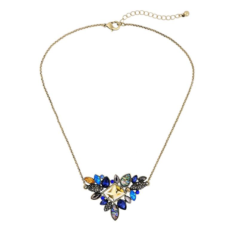 New Arrival 2014 Wholesale Major Suit Retro Colorful Gem Flower Women Jewelry Gift Ladies Necklaces