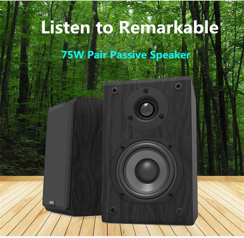 LONPOO Bookshelf Speaker Passive Pair 2-Way 75W *2 Classic Wooden Loudspeaker with 4-inch Carbon Fiber Woofer Tweeter Speaker 1