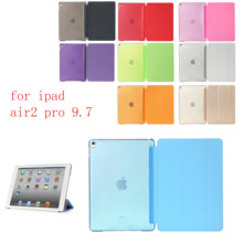 New PC Leather Case for Apple iPad air2 pro 9.7Fashion Smart Cover + translucent back 9.7 A1566`A1567