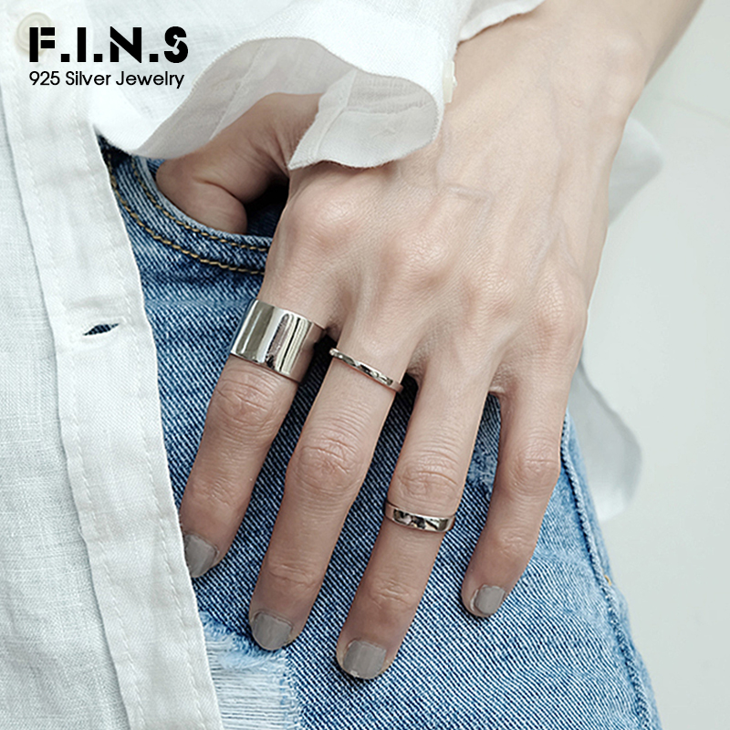 F.I.N.S Classic S925 Sterling Silver Wide Finger Ring Minimalist Jewelry Punk Smooth Matte Silver 925 Open Rings for Women Men(China)
