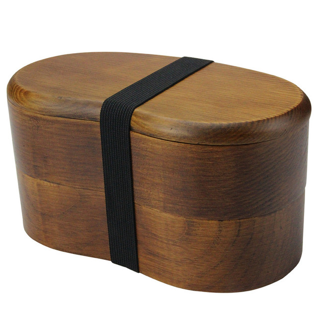 Double-Deck Wooden Lunch Box with Flatware