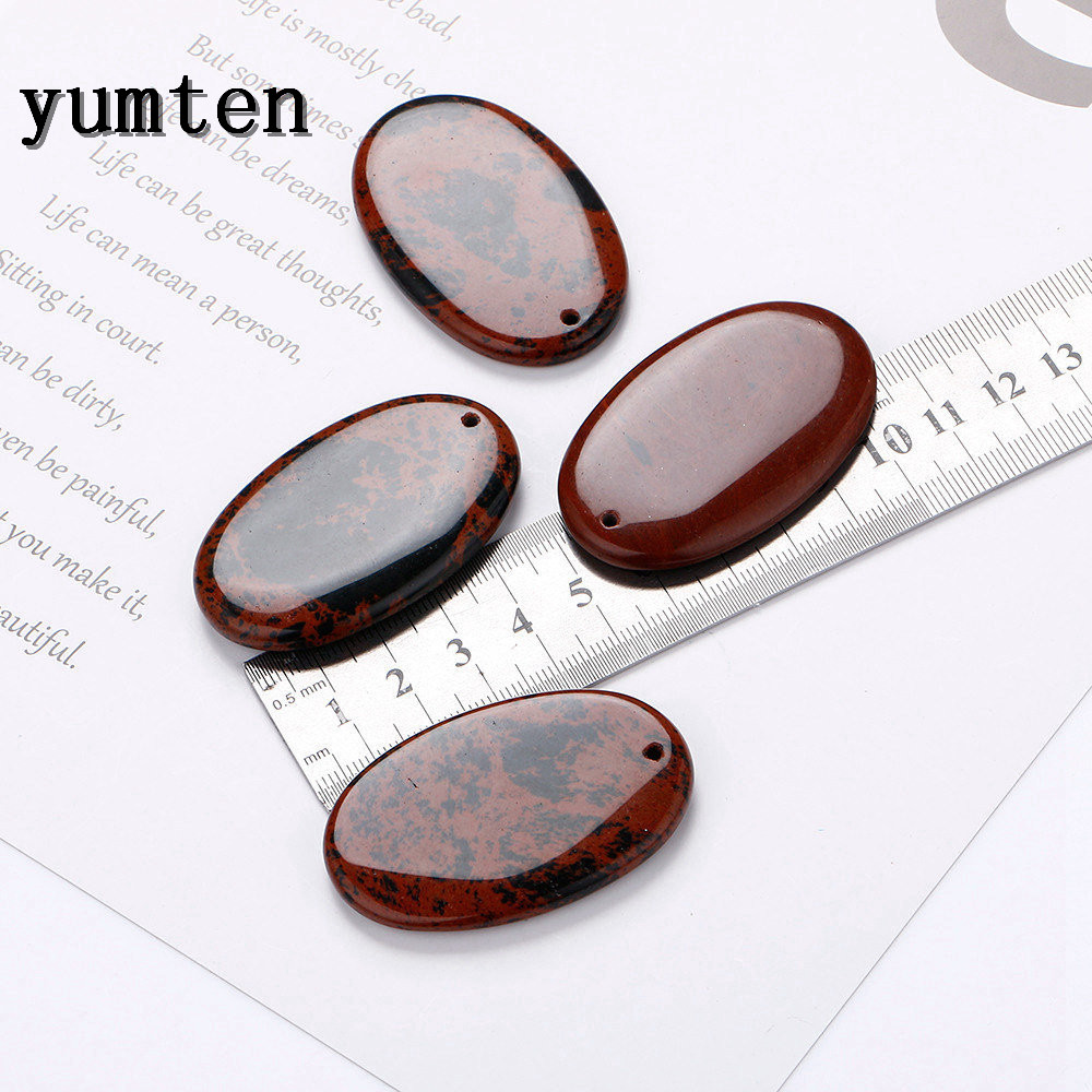 Yumten Natural Stone Agate Golden Swan Stone Oval 50mm Big Pendants Woman Charm Lucky Ruby Jade