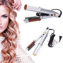 Аксессуары для укладки волос, Профессиональное выпрямление волос, щипцы для завивки волос, стиль 2 в 1, выпрямитель для волос, стильный инструмент, серебристый