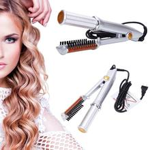 Hair Styling Accessories Professional Hair Straightening Iron Curling Iron Style 2 in 1 Hair Straightener Style Tool Silver