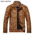 HEE GRAND Men's PU Leather Jacket Hot Sale Fashion Zipper Casual Stand Collar Jaqueta Masculina M-3XL Size 3 Colors MWP275
