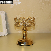 PEANDIM Gold Wedding Decorations Ideas Home Candlestick Metal Gold Crystal Candle Holder Small Candle Lantern Table Centerpieces