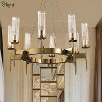 Американский Лофт медь EDISON E27 светодио дный LED люстра Ретро вилла освещение для гостиная блеск Luminarias Подвесная лампа