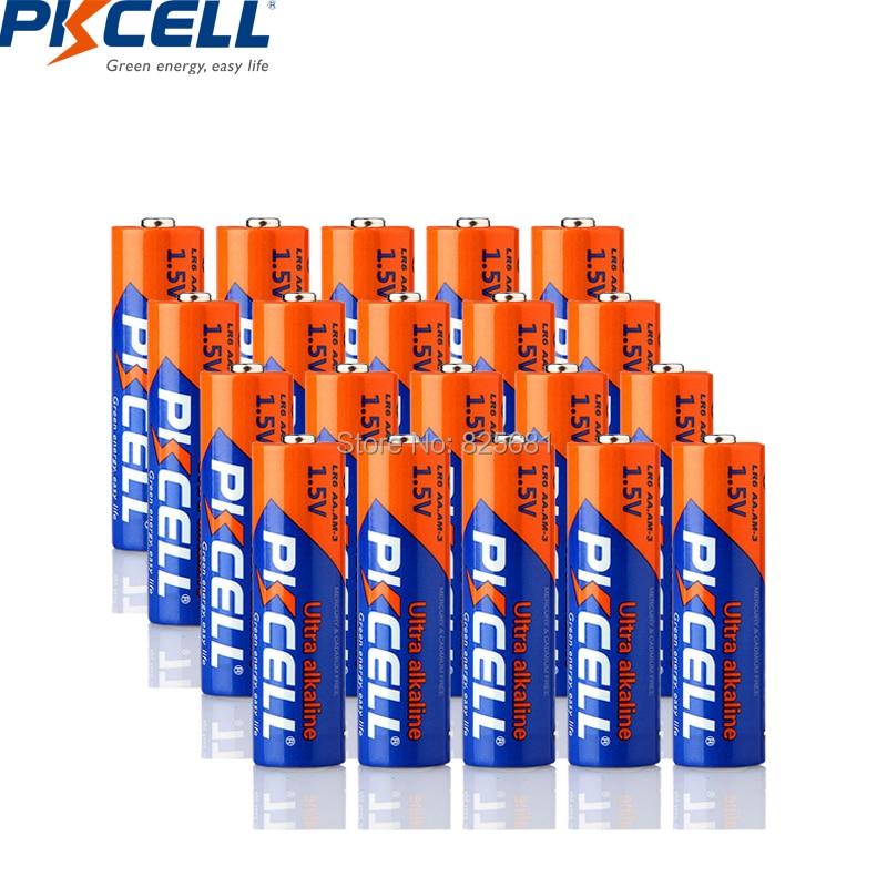 PKCELL 20Pcs LR6 1.5V 360min AA Super Alkaline Dry Battery