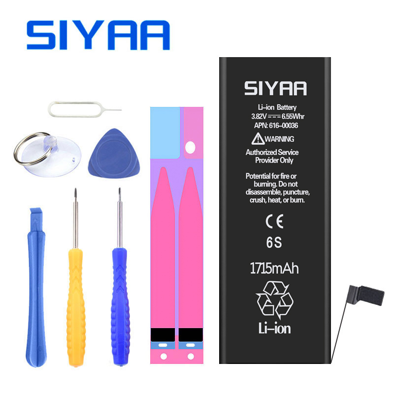 Original SIYAA Battery For iPhone 6S 1715mAh Real Capacity iPhone6s Replacement Batteria Repair Tools Retail Package Free Gifts