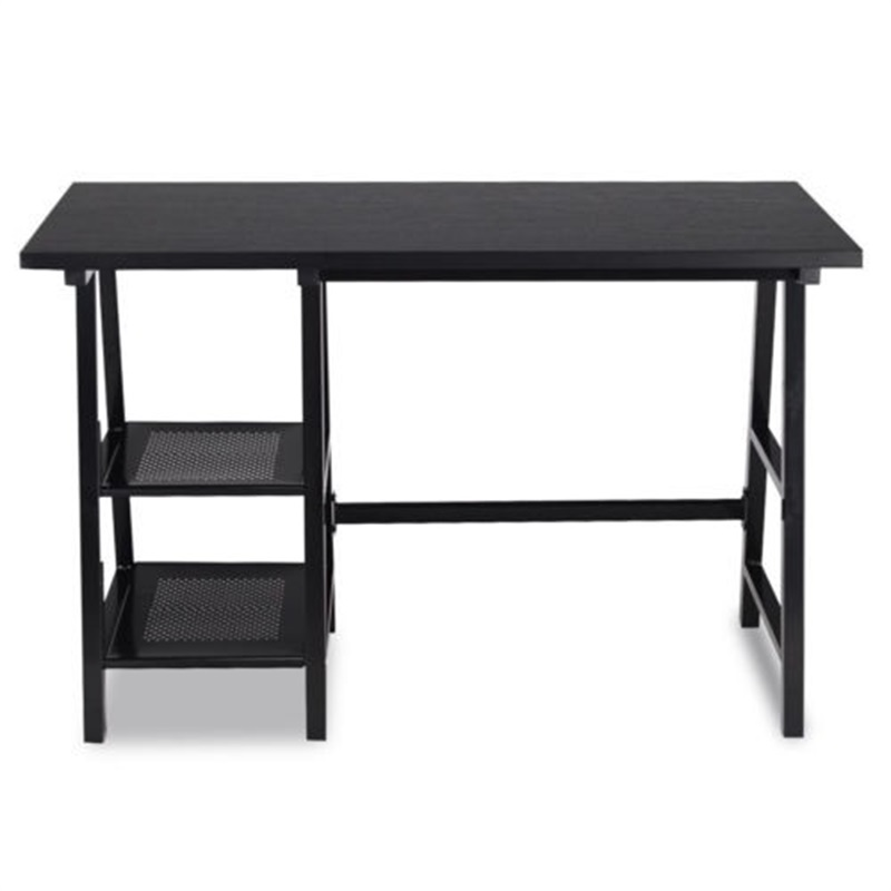 Modern Writing Laptop Trestle Computer Desk With 2-tire Storage Shelf Office Home Desks HW59334