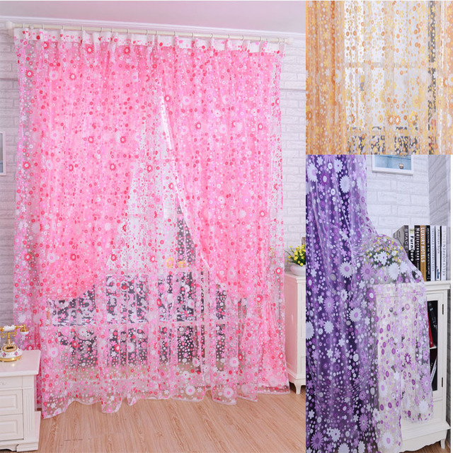Print Floral Voile Door Curtain Window Room Curtain Divider Scarf Beautiful  Gift Drop