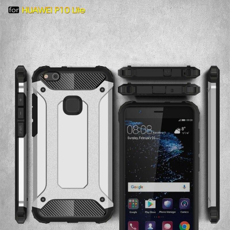 Coque de téléphone en Fiber de carbone, étui en Silicone pour Huawei P10 Lite, résistant aux chocs, armure hybride en caoutchouc résistant