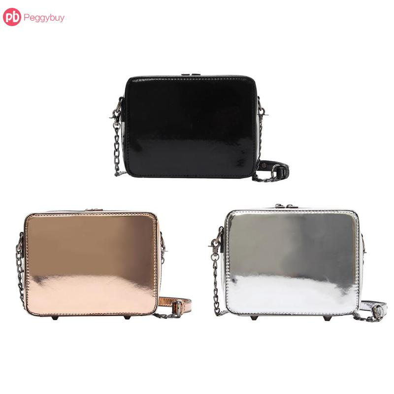 Women Laser Mirror Square Handbags Chain PU Leather Messenger Shoulder Bags