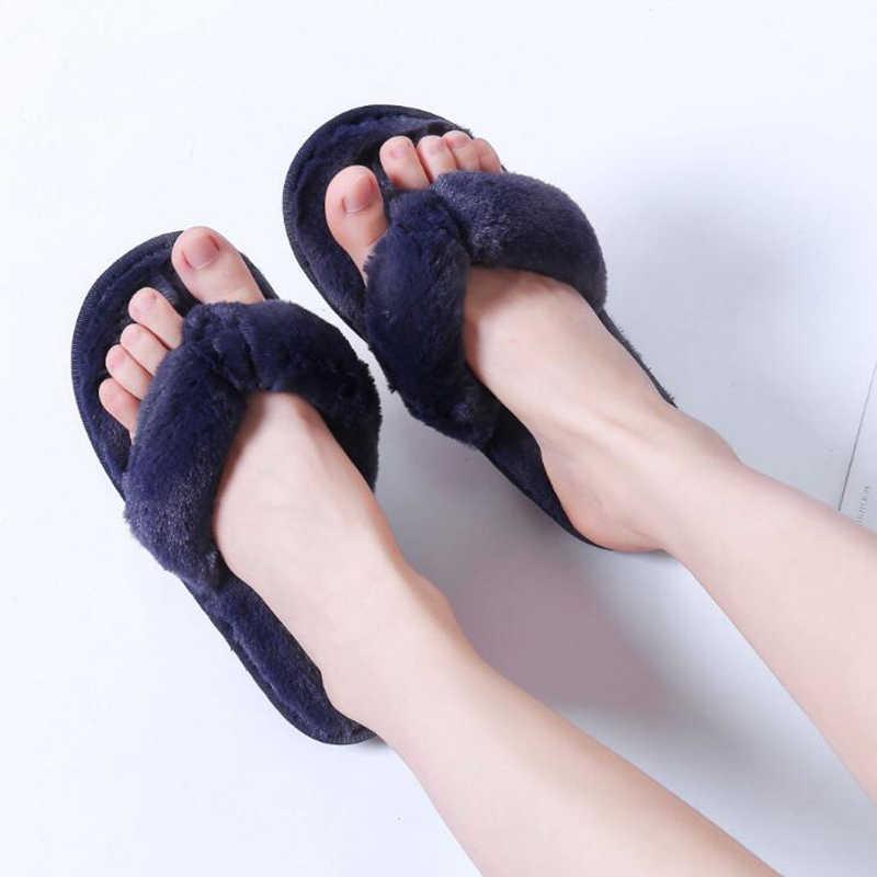 2020 yeni artı boyutu 36-41 kış moda kadınlar ev terlik taklit kürk sıcak ayakkabı kadın daireler üzerinde kayma kadın kürk Flip flop c127