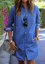 Ameision Womens Blue Jeans Denim T-Shirt dress Long Sleeve Casual Pocket Loose Shirt Short Dress