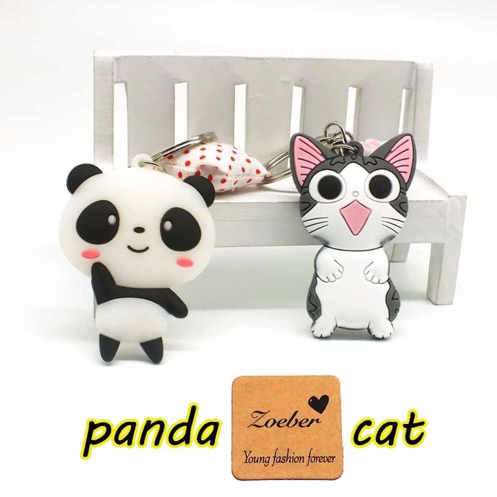 Zoeber 2 PCS Gullig tecknad nyckelringar Panda ostkatt Nyckelringar - Märkessmycken