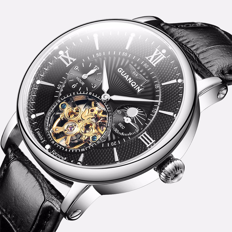 GUANQIN Mens Watches Top Brand Luxury Tourbillon Automatic Mechanical Watch Men Casual Fashion Leather Strap Skeleton Wristwatch sollen mens watches top brand luxury moon phase automatic mechanical watch men casual fashion leather strap skeleton wristwatch