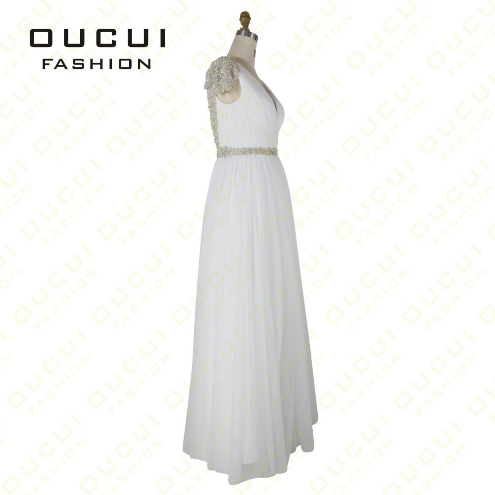 Tulle Fabric Pleat With Beading Handwork Bridesmaid Mermaid Long Prom Dress With Stones OL102785 vestido de festa de casamento 18