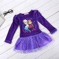 Púrpura Paño de Los Niños Cabritos Del Vestido de Partido Vestidos de Cosplay Bebé Anna Elsa Princesa de Las Muchachas Vestidos de Verano Vestidos de Fiesta Cosplay