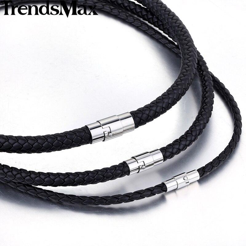 Trendsmax Black Brown Women Men Necklace Chain Leather Chokes