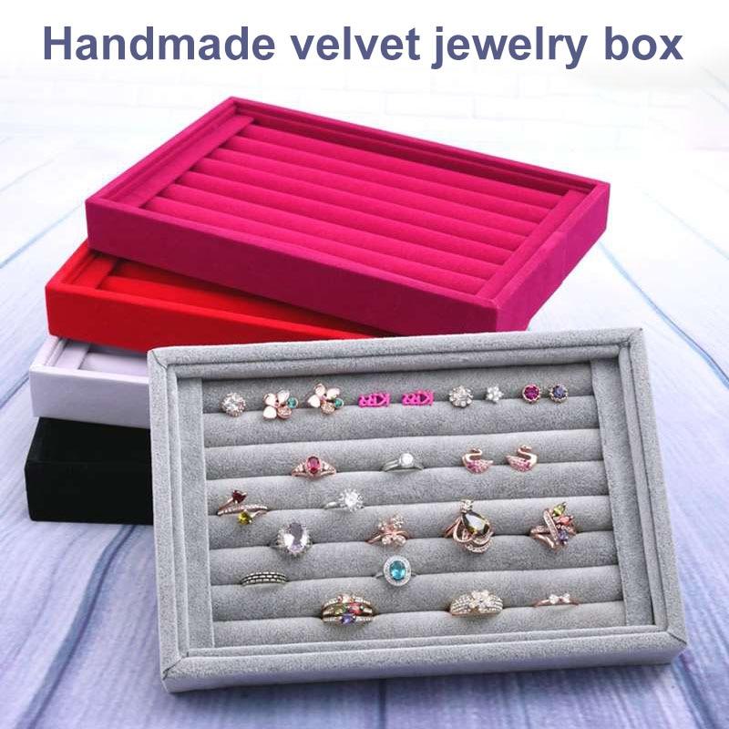 Portable High Velvet Jewelry Display Tray Bracelet Holder Necklace Ring Earring Box Jade Pendant Stand Jewelry Storage Organizer