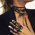 2 Colors Chic Flowers Leather Rope Choker Statement Wrap Collar Collier female Women Charm Necklace JURAN Fashion Jewelry