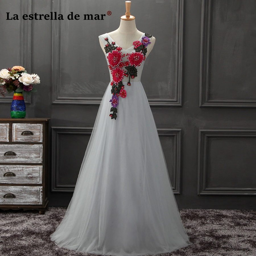 robe demoiselle d'honneur2018 new sexy V neck embroidery Sequin silver gray   bridesmaid     dress   long beautiful vestido madrinha