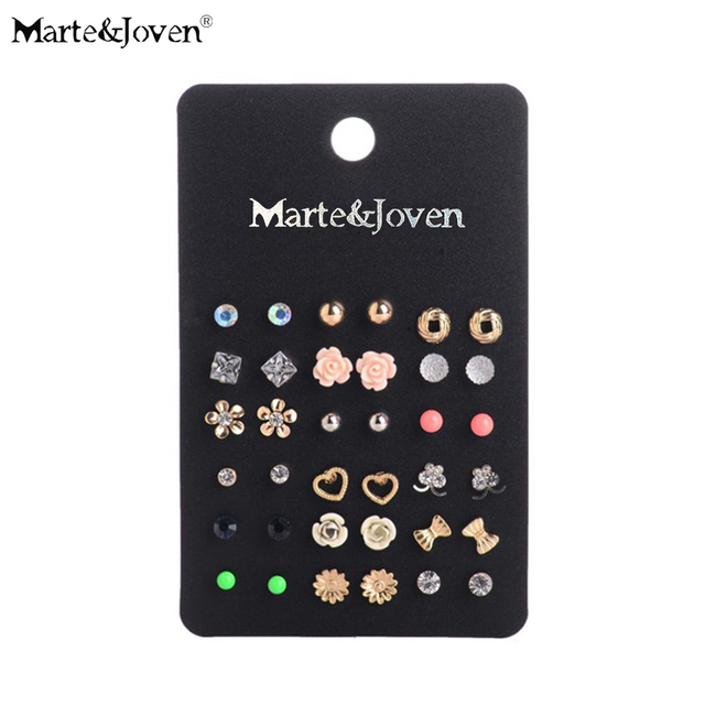Wholesale Fashion Accessories Cheap Stud Earring Sets 18 Pairs/pack Mixed Bird Stars Cross Flower Love Heart Gift For Women