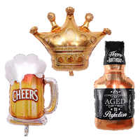 Wine Whiskey Champagne Bottle Cup Foil Balloons Valentines Wedding Decors Air Balloon 30th Birthday Party Decoration Supplies