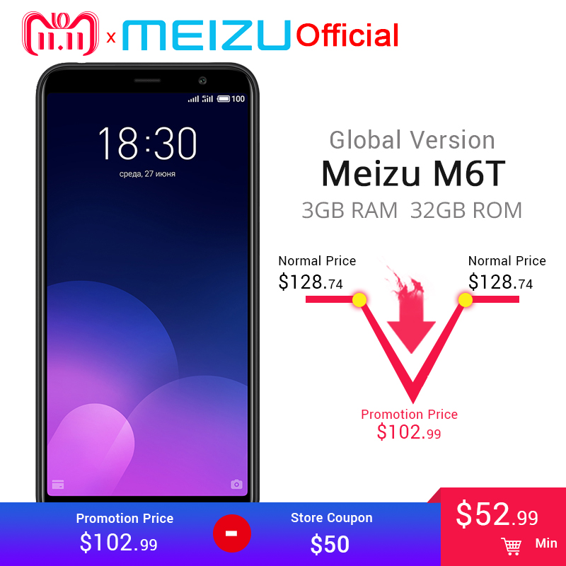"""Официальная глобальная версия Meizu M6T 3 ГБ 32 ГБ мобильного телефона mtk6750 восемь ядер 5,7 """"двойной сзади Камера 3300 мАч Батарея отпечатков пальцев ID"""