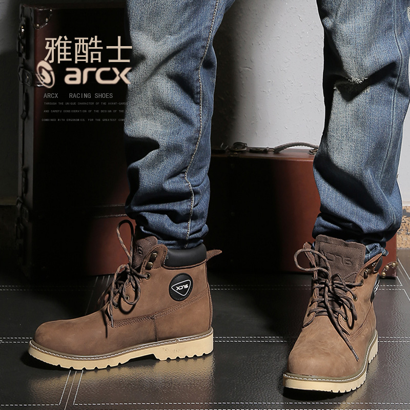 Motorcycle Touring Boots Vintage Design Casual Wear Top Cow Leather Durable Riding Ankle Boots Motorbike Street