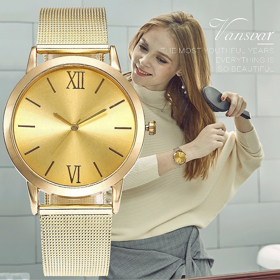 Vansvar Brand New Fashion Mesh Band Watches Luxury Women Stainless Steel Watch Casual Quartz Wristwatch Clock Relogio Feminino skone fashion simple watches for women lady quartz wristwatch stainless steel band watch for woman relogio femininos