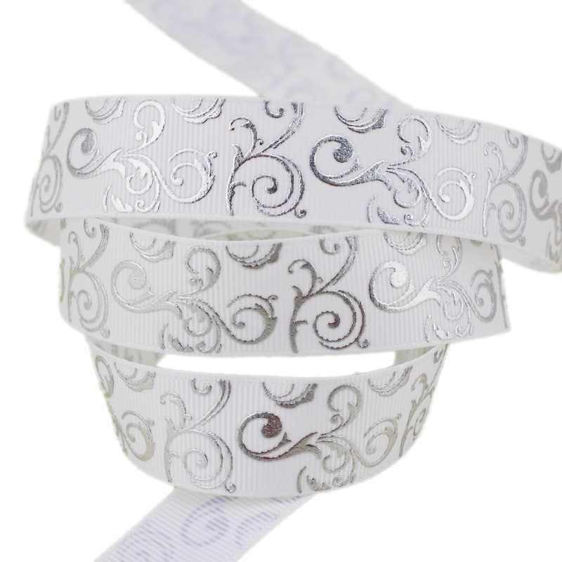(10 yards/lotto) 25 millimetri Bianco stampa a Caldo lamina d'argento regalo di nozze del nastro del grosgrain nastri all'ingrosso
