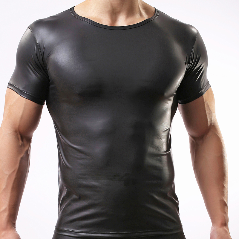 Fashion 2017 Black Faux Leather Man Crossfit Bodybuilding T Shirts Gay  Funny Nylon Spandex Hip Hop Basic Shirts for sale in Pakistan f03f1a90ea56