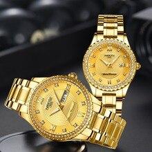 Miłośnicy NIBOSI zegarek Relogio Feminino mężczyźni zegarki Top marka luksusowe kobiety zegarek złoty kwarc zegar na prezent sukienka damska zegarek