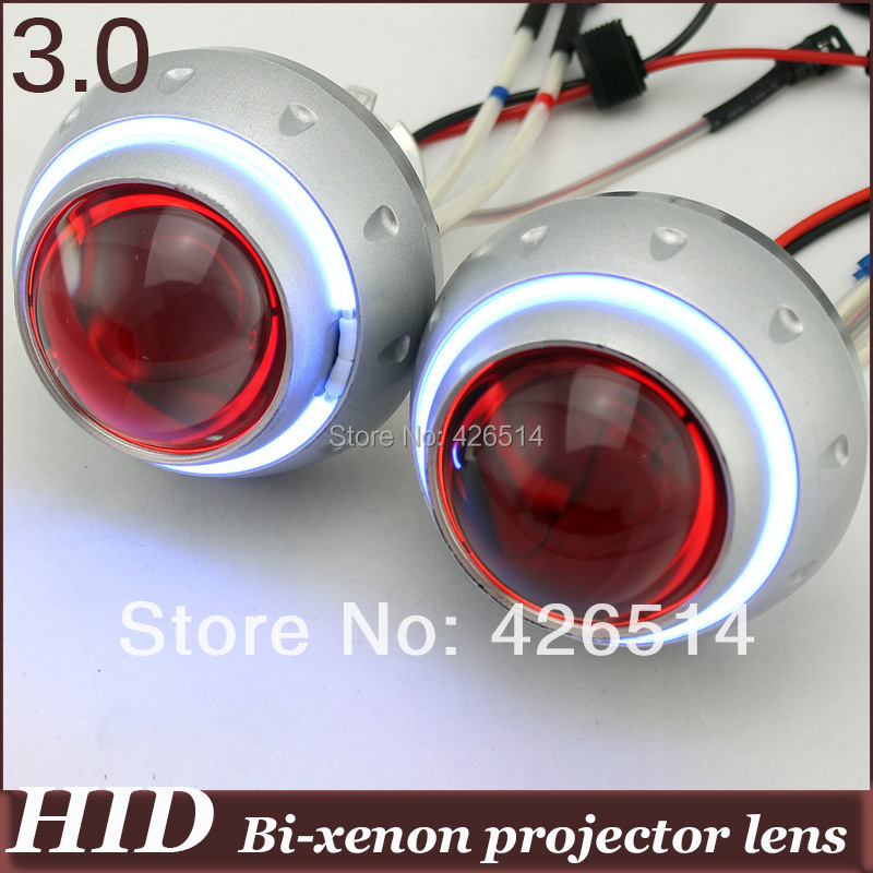 3 inch Bi-Xenon HID Projector Lens H1 H7 H4 H13 9007 9005 9006 White Yellow Blue Red Green Double CCFL Angle Eye double light lens angel eye projector h4 h7 two ray lens blue green [qp378 bg]