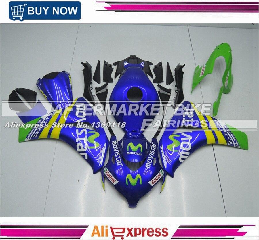 Peinture UV travail bleu et vert Movistar ABS moulage plastique pour Honda 2008 2009 CBR1000RR 2010 2011 corps de carénage