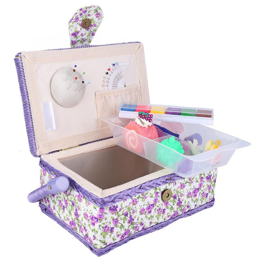 Fruit Basket Foldable Laundry Basket Fabric Craft Sewing Basket Thread Needle Storage Box Organizer Flower Printed