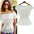 Europe aliexpress EBAY Hot European summer shirt collar lace lace stitching chiffon shirt