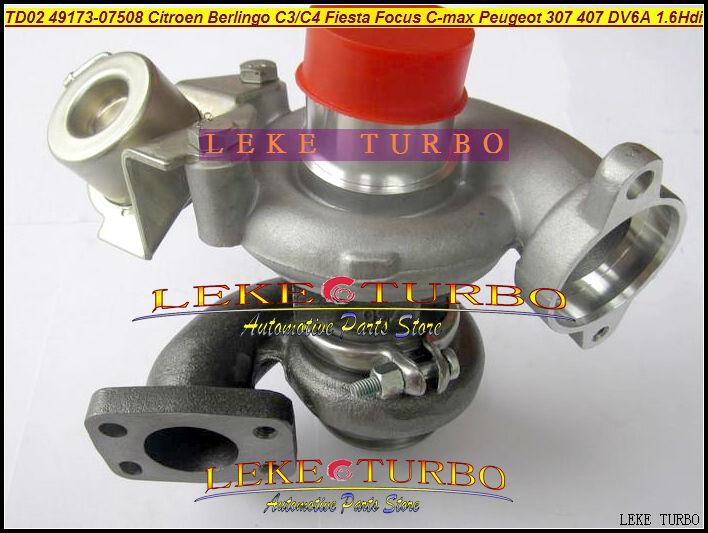 TD02 49173-07508 49173-07503 Turbo turbocharger For FORD Fiesta For Focus C-MAX  Berlingo C3 C4 For Peugeot 307 407 DV6A 1.6L turbo for ford focus fiesta c max fiat scudo citroen berlingo c3 c4 peugeot 207 307 407 dv6uted4 1 6l 49173 07507 turbocharger