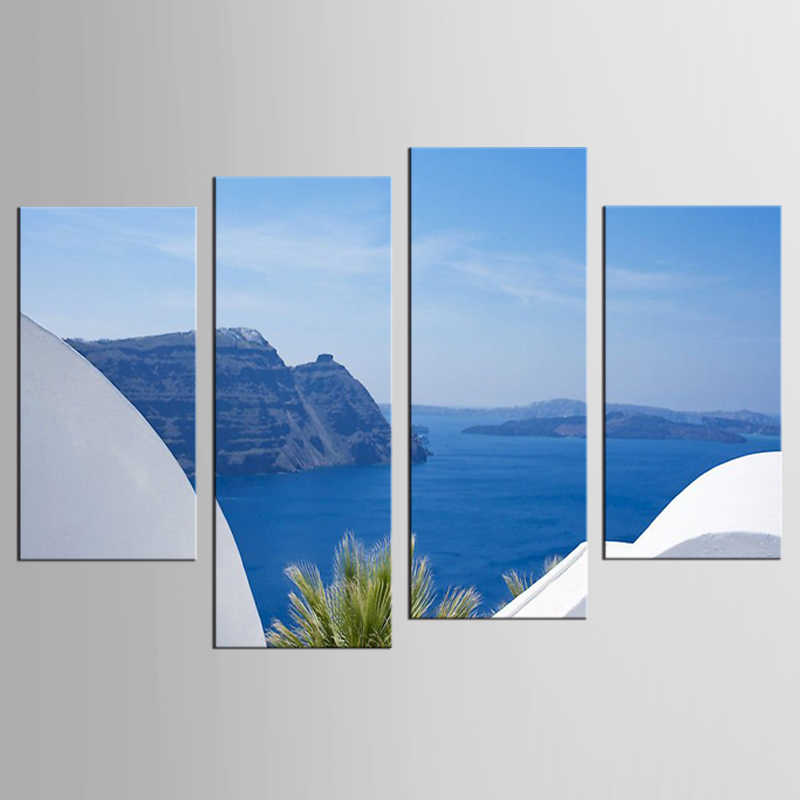 4 piece Poster Photo Greek Aegean Sea Castle Landscape living room home decor Wall Art Picture print Painting on Canvas