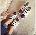 Mujer zapatos de Plataforma Transpirable zapatos de lona blancos zapatos femeninos bajas para ayudar amor Hook & Loop calzados informales de los estudiantes