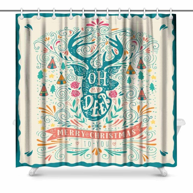 Aplysia Oh My Deer Merry Christmas Fabric Shower Curtain Decor with ...