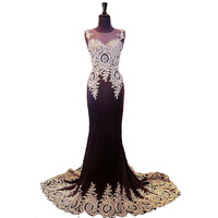 100% Real Photo Evening Dress Lace Applique Mermaid Robe De Soiree Spandex Sheer Back With Crystal Party Evening Elegant