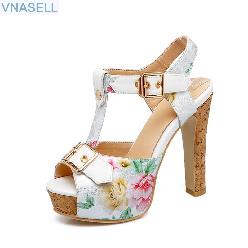 2018 summer fashion party shoes  High heels shoes woman sandals buckle printing platform shoes  size 32 33- 43 46 big size 32 43 fashion party shoes woman sexy high heels platform summer pumps ankle strap sandals women shoes