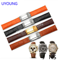 UYOUNG Quality black|orange Genuine Leather watchband19mm 20mm for mens Leather bracelet watch