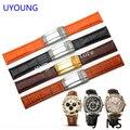 Calidad negro | orange uyoung watchband19mm 20mm para hombre de cuero genuino reloj de pulsera de cuero